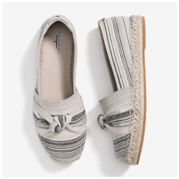 Tahari Shoes - Tahari Harper Canvas Striped Espadrille Loafers 7